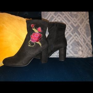 Candies Black Faux Suede Embroidered Boots